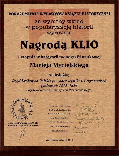 Nagroda KLIO 2010